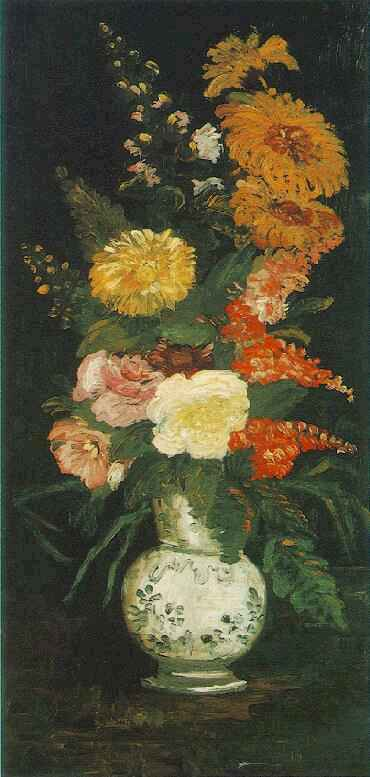 Vase with Asters, Salvia and Other Flowers
