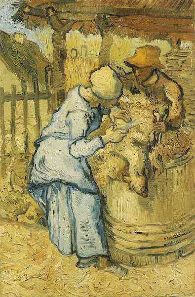 Sheep Shearers, The after Millet