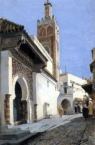 Manuel Garcia Rodriguez A Street Scene With A Mosque Tangier