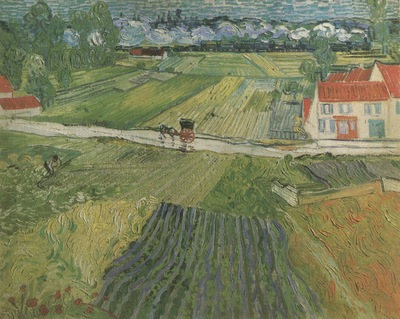 landscape with wagon in the background, auvers sur oise