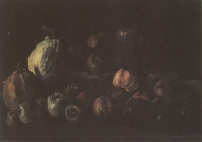 still life with basket of apples and pumpkins, nuenen