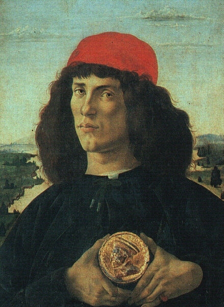 botticelli, sandro portrait of a man with a medal, before