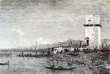 Canaletto The Tow of Malghera, c  1744, etching 29,9 x 43,2