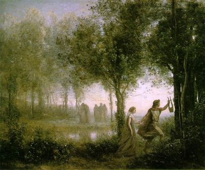 corot orpheus leading eurydice from the underworld 1861