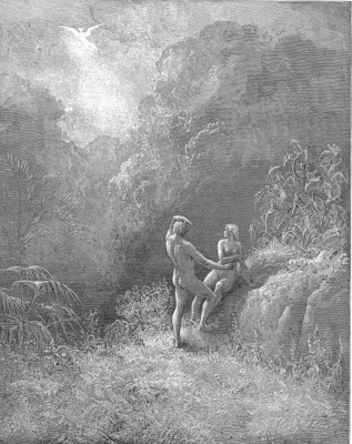 pl035 So parted they the Angel up to heaven From the thick shade, and Adam to his bower