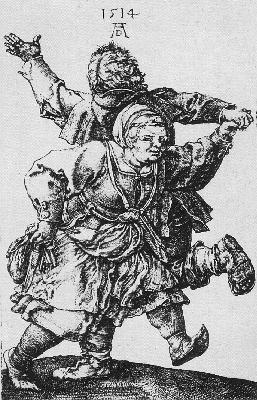 DURER DANCING PEASANTS,1514, COPPER ENGRAVING
