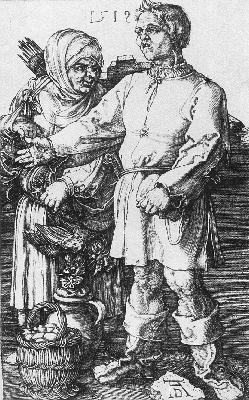 DURER PEASANTS AT THE MARKET,1519, COPPER ENGRAVING