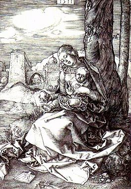 Durer The Madonna and Child with pear, 1511, 15,7x10,7 cm, N