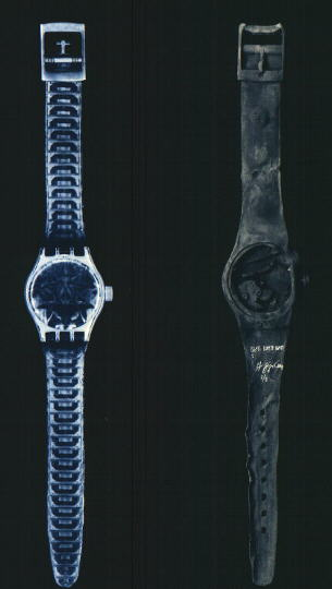 H R Giger 1993 left THE SPELL MAXIWATCH right RUSTY MAXIWATCH polyester, plexiglass, metal and wood 219x36x15cm