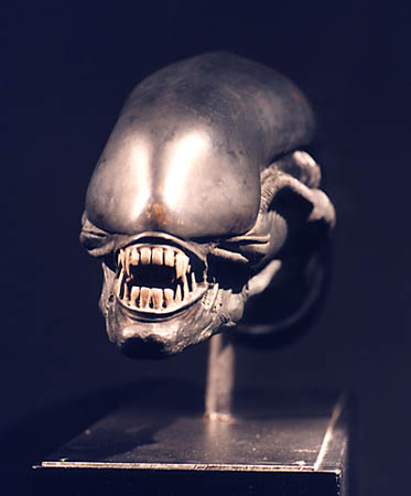 H R Giger ALIEN HEAD bronze front