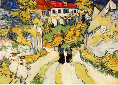 van Gogh Village street and stairs with figures, 1890, 20x28