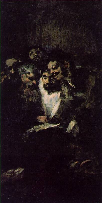 Goya Men reading, ca 1819 23, 126x66 cm, Oil on plaster remo