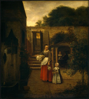 HOOCH,DE WOMAN AND CHILD IN A COURTYARD, 1658 1660, NGW