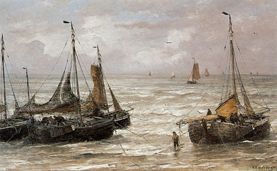 Mesdag Hendrik Willem Back at the beach Sun