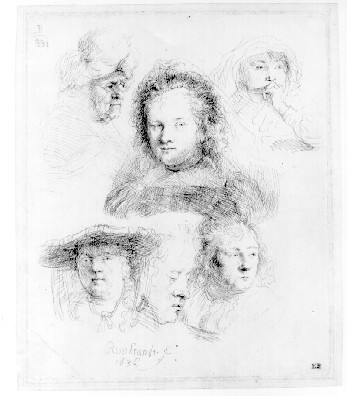 Rembrandt Five studies of Saskia and one of an older woman,