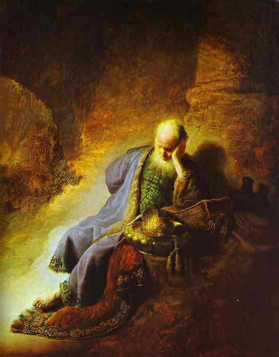 REMBRANDT THE PROPHET JEREMIAH MOURNING OVER THE DESTRUCTION OF JERUSALEM dans immagini sacre