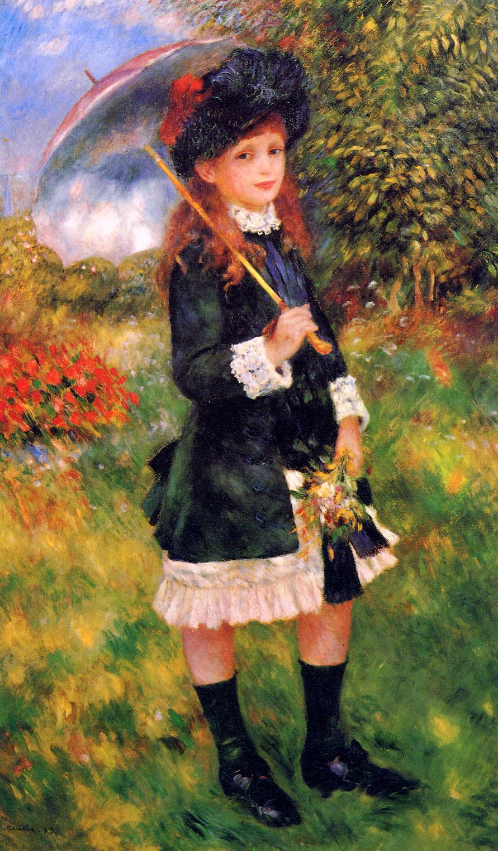 Renoir pierre auguste girl with umbrella sun renoir for Paintings by renoir