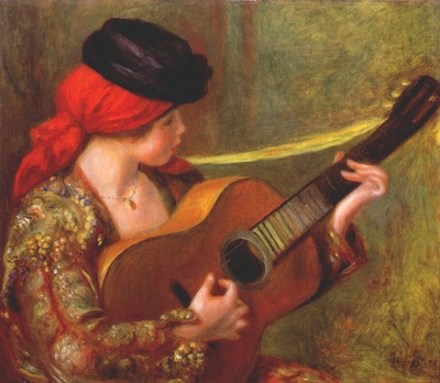 renoir young spanish woman with a guitar