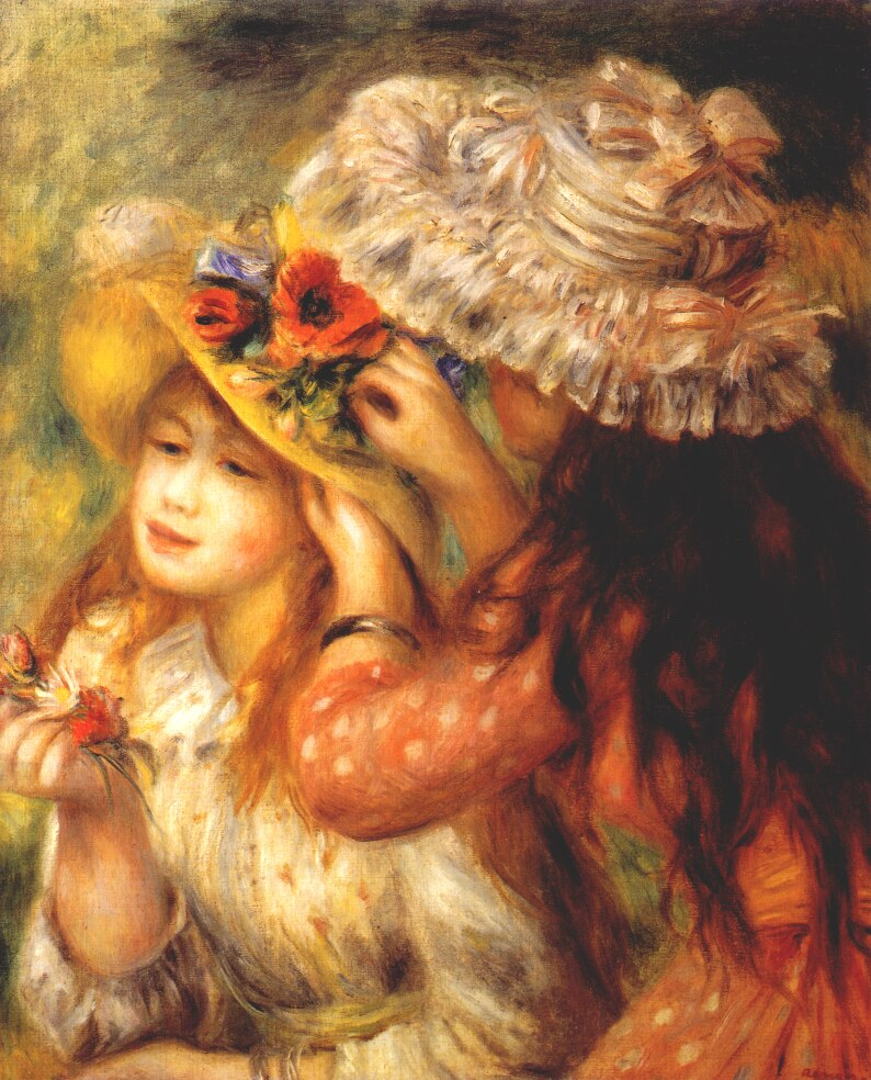 renoir girls putting flowers on their hats 1893. 794x98466