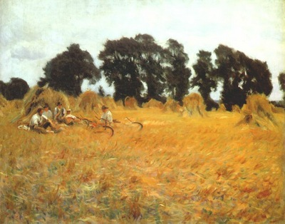 sargent reapers resting in a wheatfield c1888