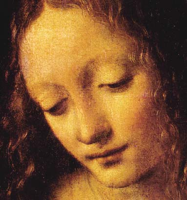 davinci Virgin of the Rocks face detail