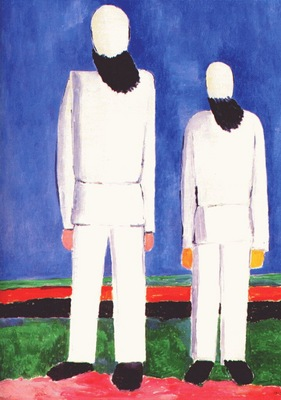 malevich 2 peasants against blue background 1928