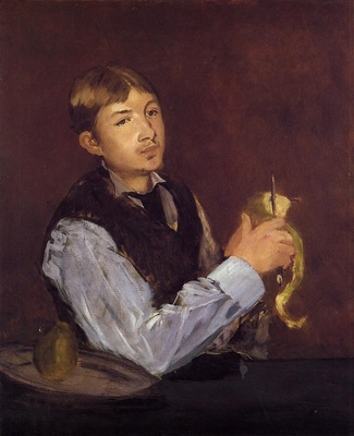 young man peeling a pear also known as portrait of leon leenhoff
