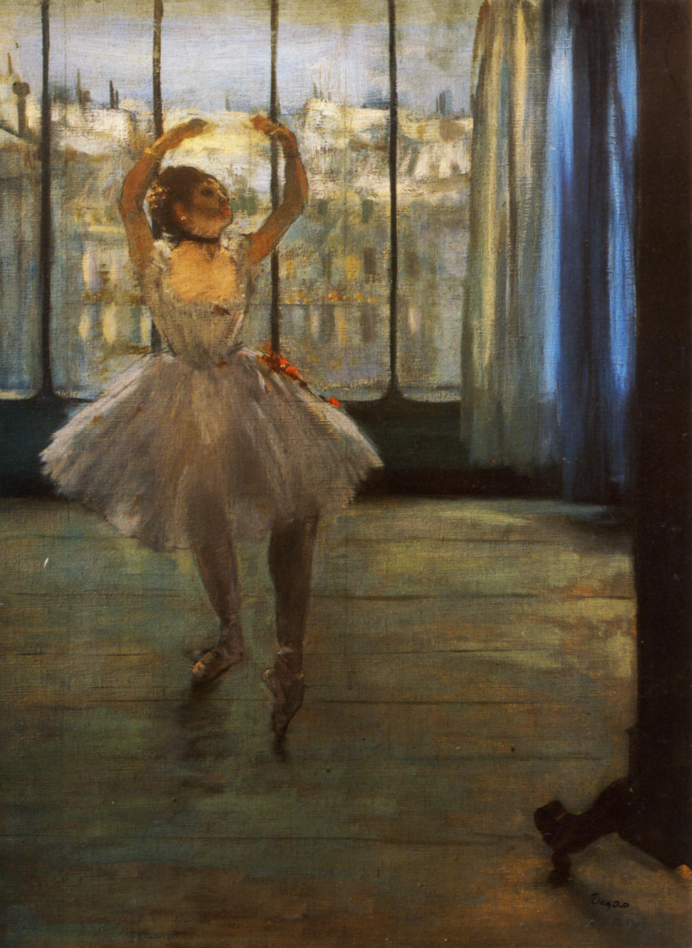 danseuse posant chez un photographe huile sur toile x6550. Black Bedroom Furniture Sets. Home Design Ideas
