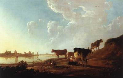 CUYP Aelbert River Scene With Milking Woman