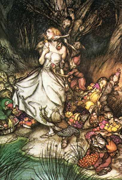 Rackham Arthur Goblin Market White and golden Lizzie stood