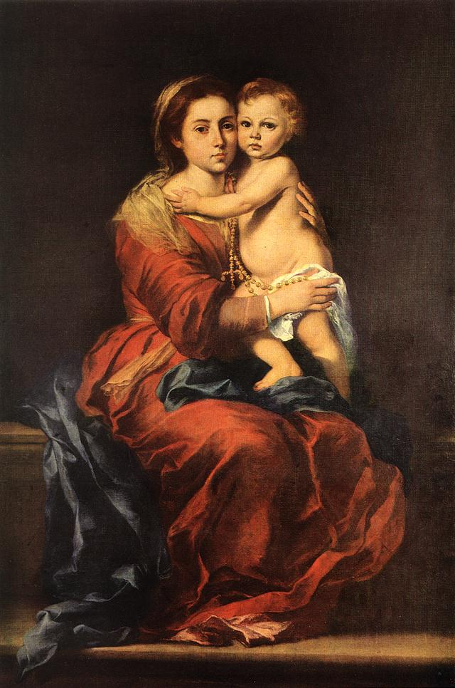 Murillo Virgin And Child With A Rosary « Bartolome Esteban