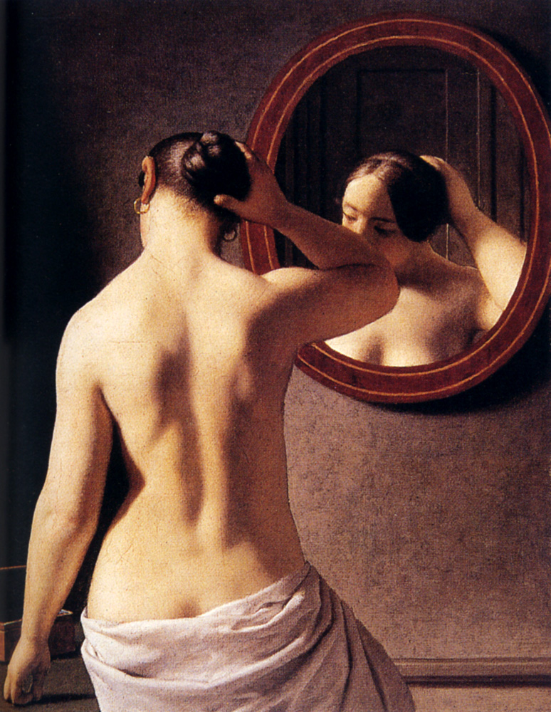 Young Topless Woman With Makeup And Towel On Head Standing In Front Of Mirror In Bathroom Sensual, Skin