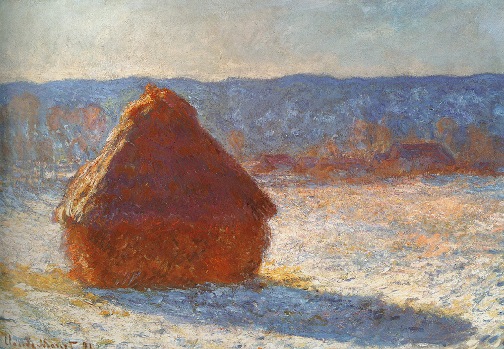 claude monet haystacks effect of snow Haystacks - snow effect, 1891 courtesy of wwwclaude-monetcom haystacks is a title of a series of impressionist paintings by monet the primary subjects of.