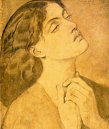 Rossetti Dante Gabriel Study of Guinevere for Sir Lancelot in the Queen s Chamber