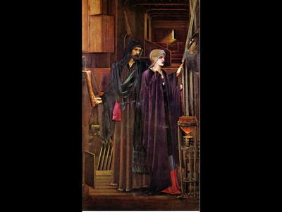 BURNE JONES Edward The Wizard oil on canvas 90x53 12cm City Museums and art Gallery Birmingham