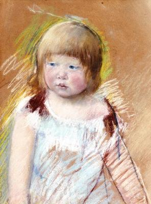 Cassatt Mary Child with Bangs in a Blue Dress