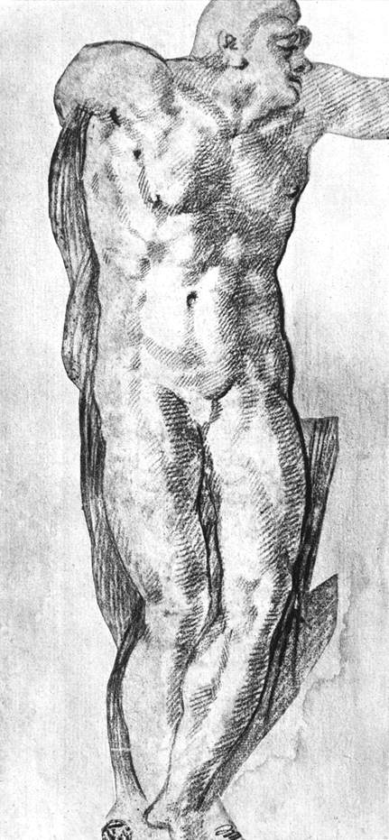 Michelangelo Study of a Nude Man