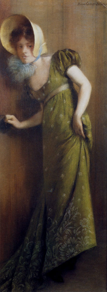 Carrier Belleuse Pierre Elegant Woman In A Green Dress