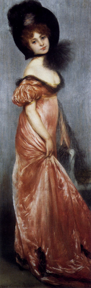 Carrier Belleuse Pierre Young Girl In A Pink Dress