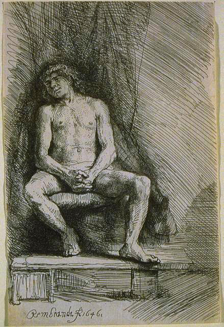 Study from the Nude Man Seated before a Curtain SIL