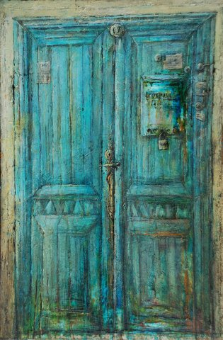 Blue Door 52 x 35 in, mixed media on canvas